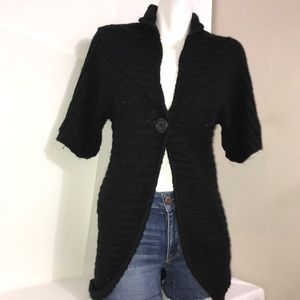 Suzy Black Buttoned Ribbed CableKnit Long Cardigan